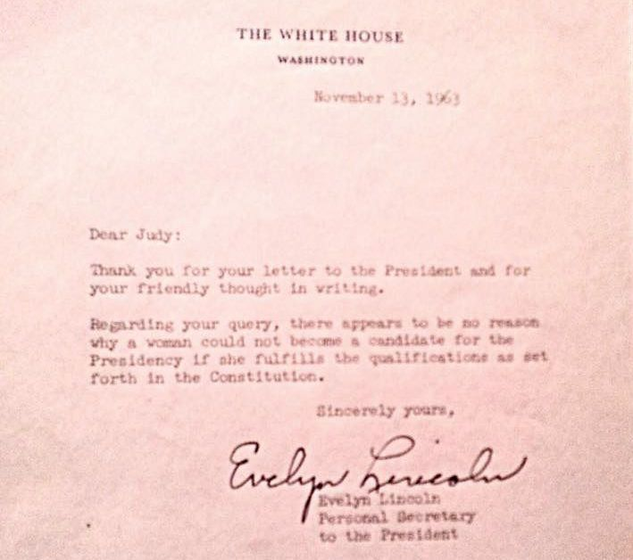 The letter my mother received from Evelyn Lincoln, Secretary to President Kennedy, on November 23rd, 1963.