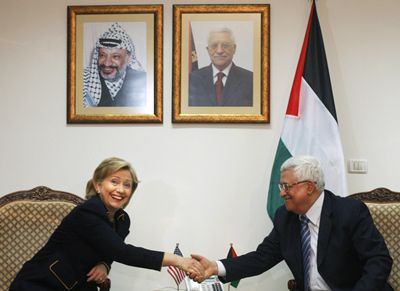Making the Rounds: Secretary of State Hillary Clinton met with Palestinian President Mahmoud Abbas in Ramallah on March 4.