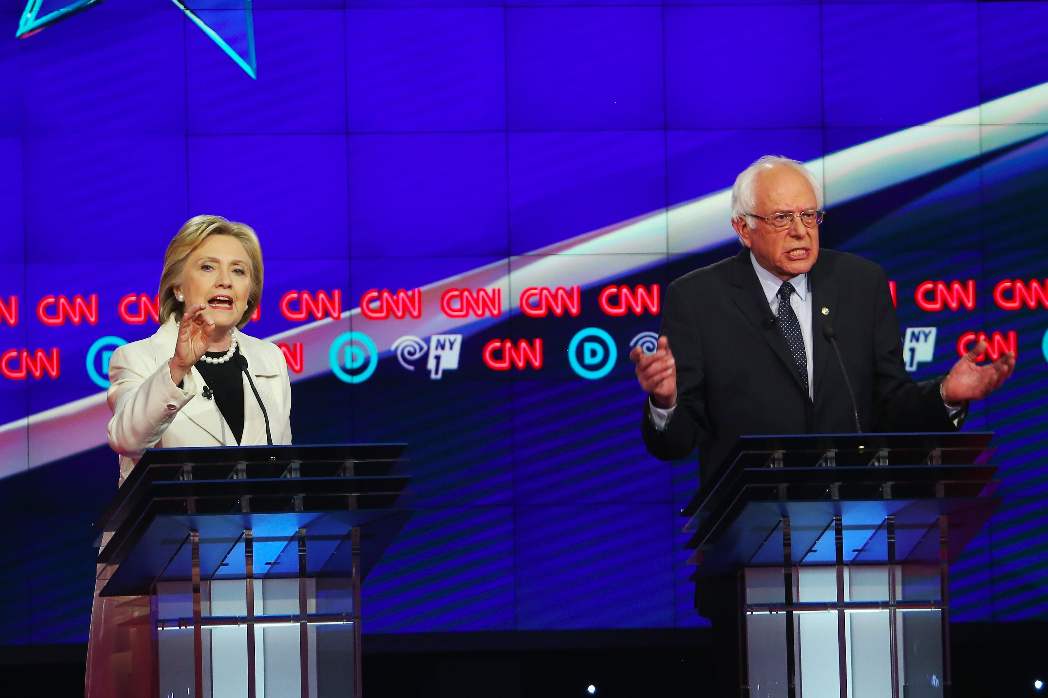 Hillary Clinton and Bernie Sanders during the the Democratic presidential debate in New York on April 14, 2016.