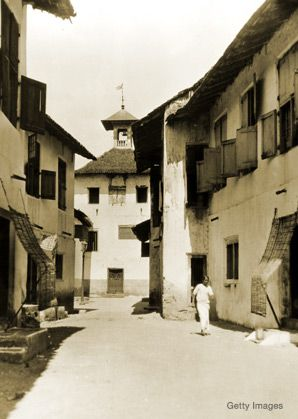 Down Memory Lane: Cochin was once a center of Jewish culture. Above, a street leads to a synagogue in the city's old Jewish quarter (circa 1950).