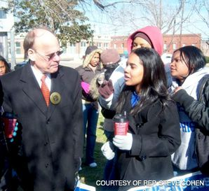 VICTORY: Rep. Steve Cohen, shown here at a Martin Luther King rally won a primary election in his heavily black congressional district.