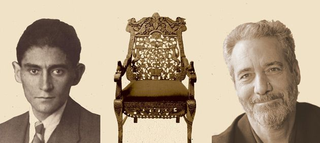 Gated: No pictures remain of Nachman, but his chair is flanked by Franz Kafka (left) and Rodger Kamenetz.