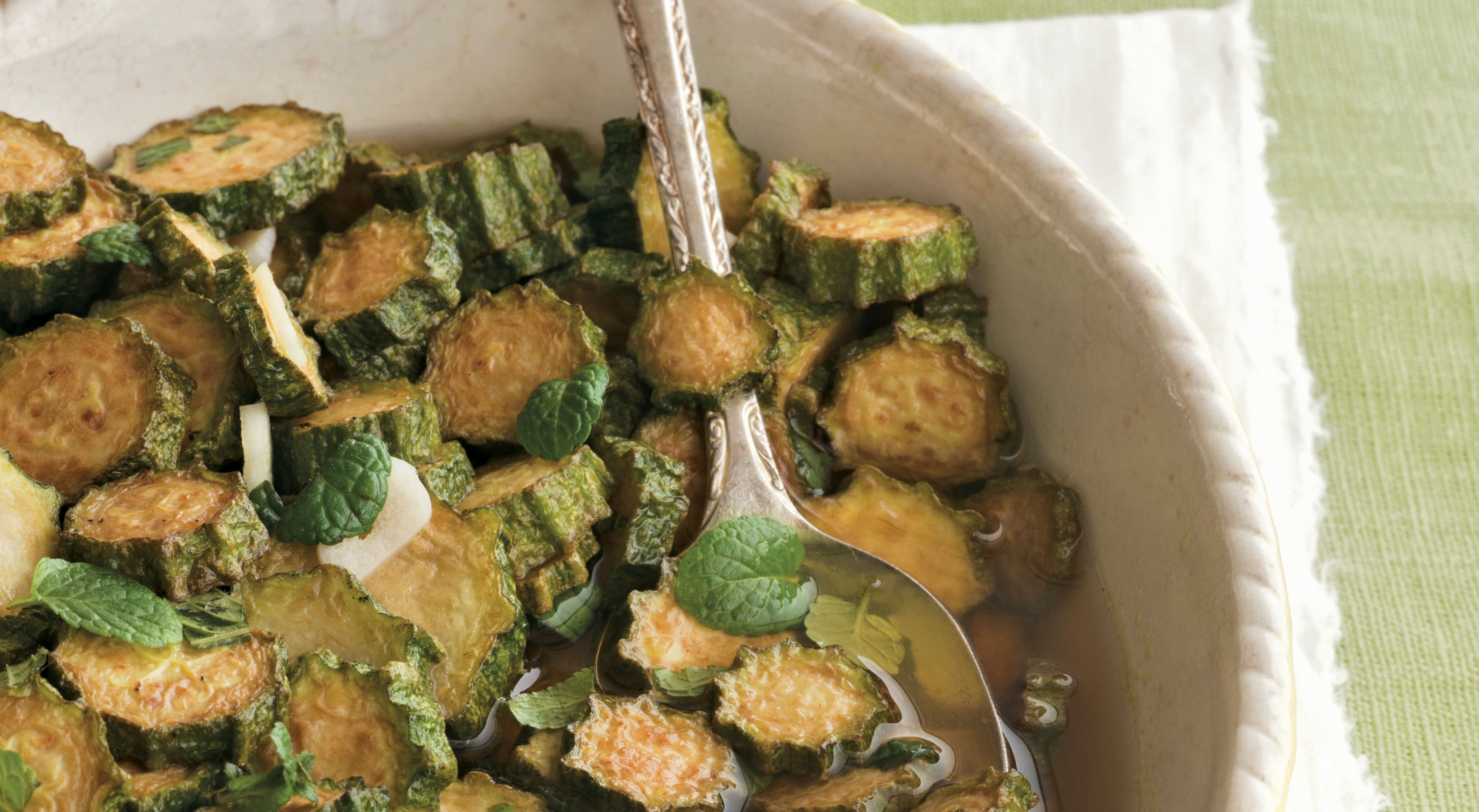 "Concia: Fried and marinated zucchini from ""Tasting Rome."""