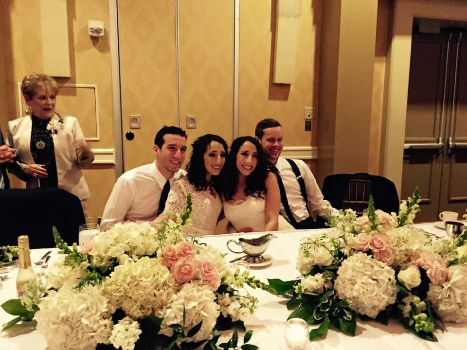 Fantastic Four: The couples at their wedding reception in April 2015.