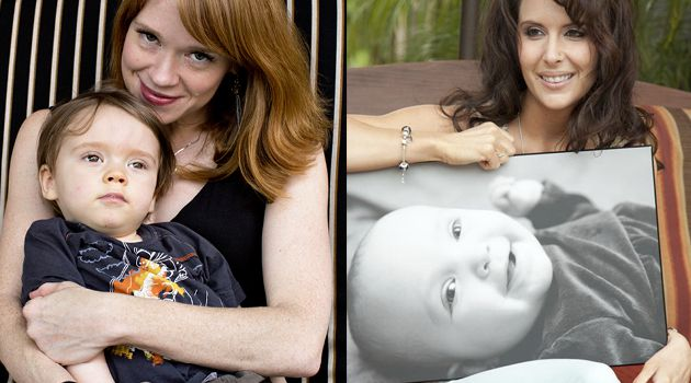 A Friendship Built on Grief: Emily Rapp (left, with her son Ronan) and Becky Benson (with a picture of her son Elliott) became friends after their children were diagnosed with the fatal Tay Sachs disease.