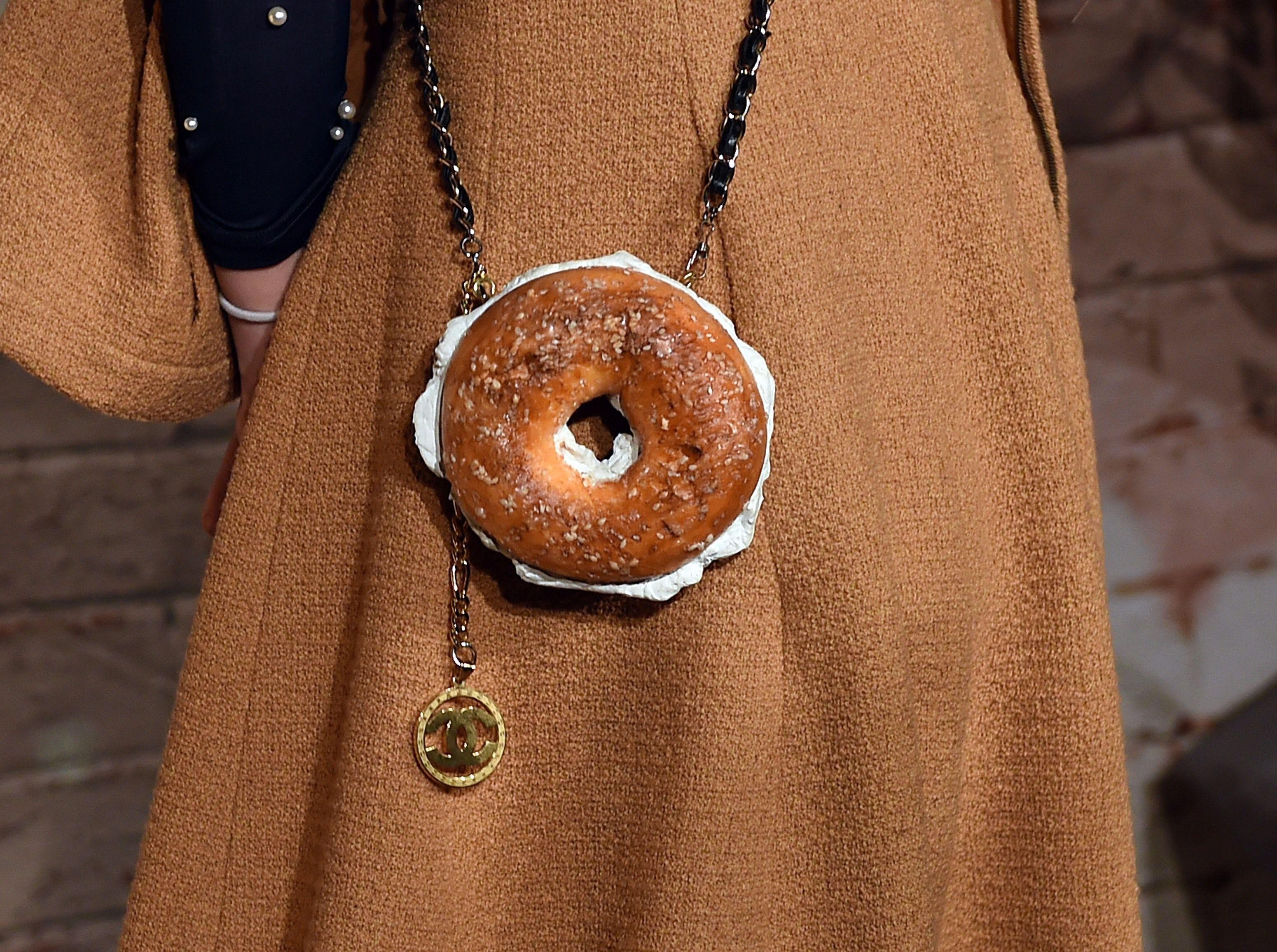 India Menuez's Chanel bagel purse.