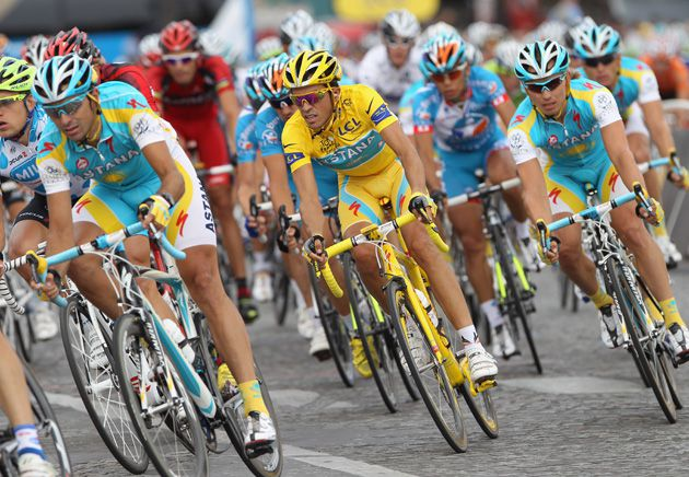 Smooth Riding: Racers during the final stage of the 2010 Tour de France.