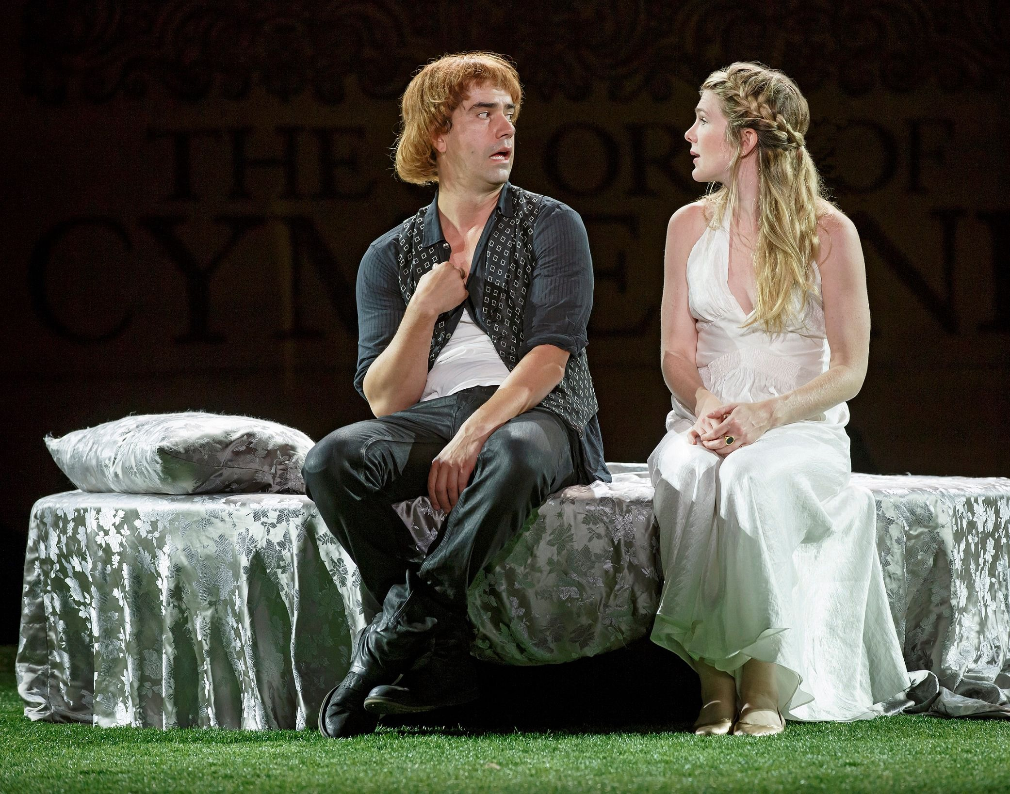 """Who Me? Hamish Linklater and Lily Rabe in The Public Theater's Free Shakespeare in the Park production of William Shakespeare's """"Cymbeline."""""""