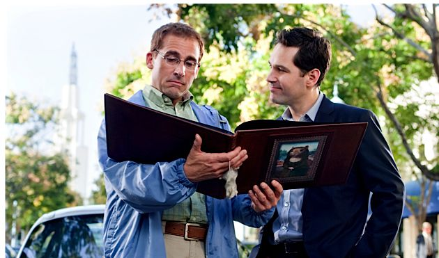 Mice and Men: Steve Carell (left) instructs Paul Rudd in the schlemiel-esque art of stuffed-mouse dioramas.