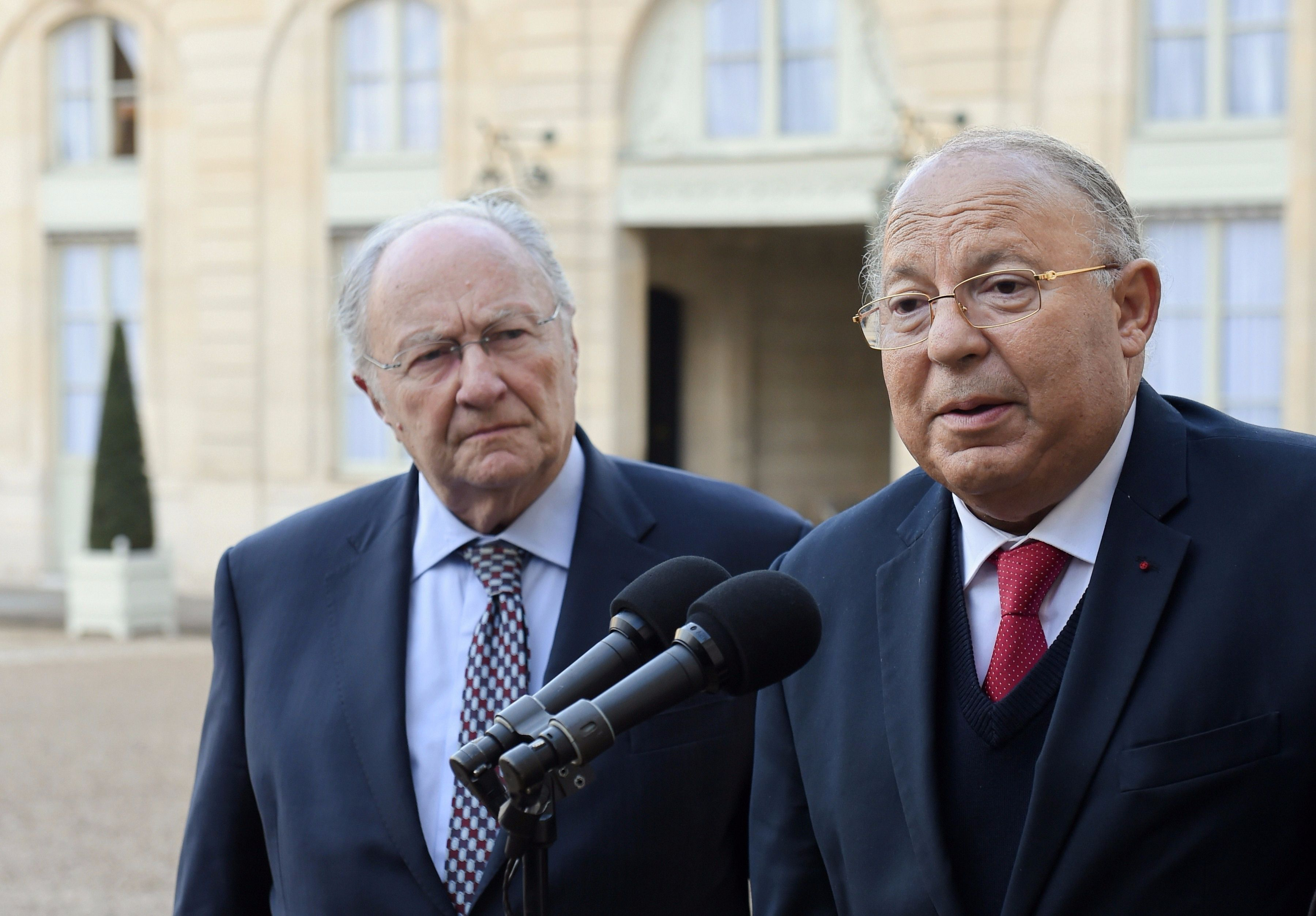 Allies? CRIF President Roger Cukierman (left) and Paris Mosque rector Dalil Boubakeur speak to the press in February after meeting with the French president.