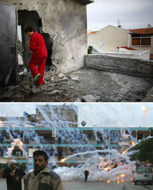 Two Sides: In Sderot (above) and Gaza, both sides cite damage. Click to view larger.