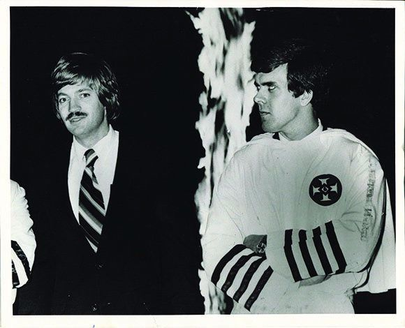 David Duke, left, with fellow white supremacist Don Black at a Klan meeting in the 1980s.