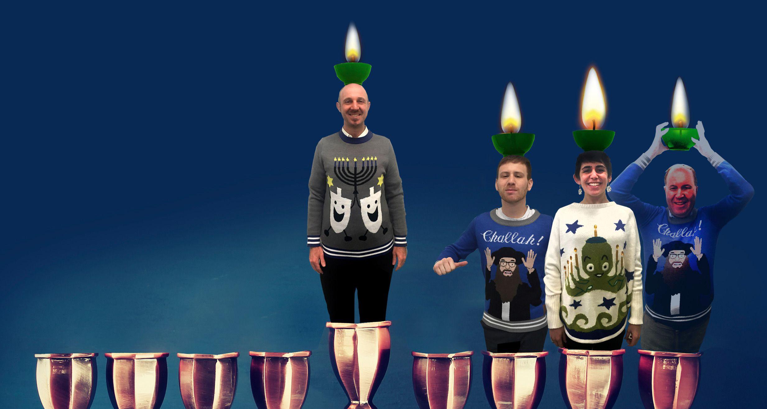 Human Hanukiah: Forward staff members glow with seasonal pride in ugly Hanukkah sweaters from Lord & Taylor and Tipsy Elves.