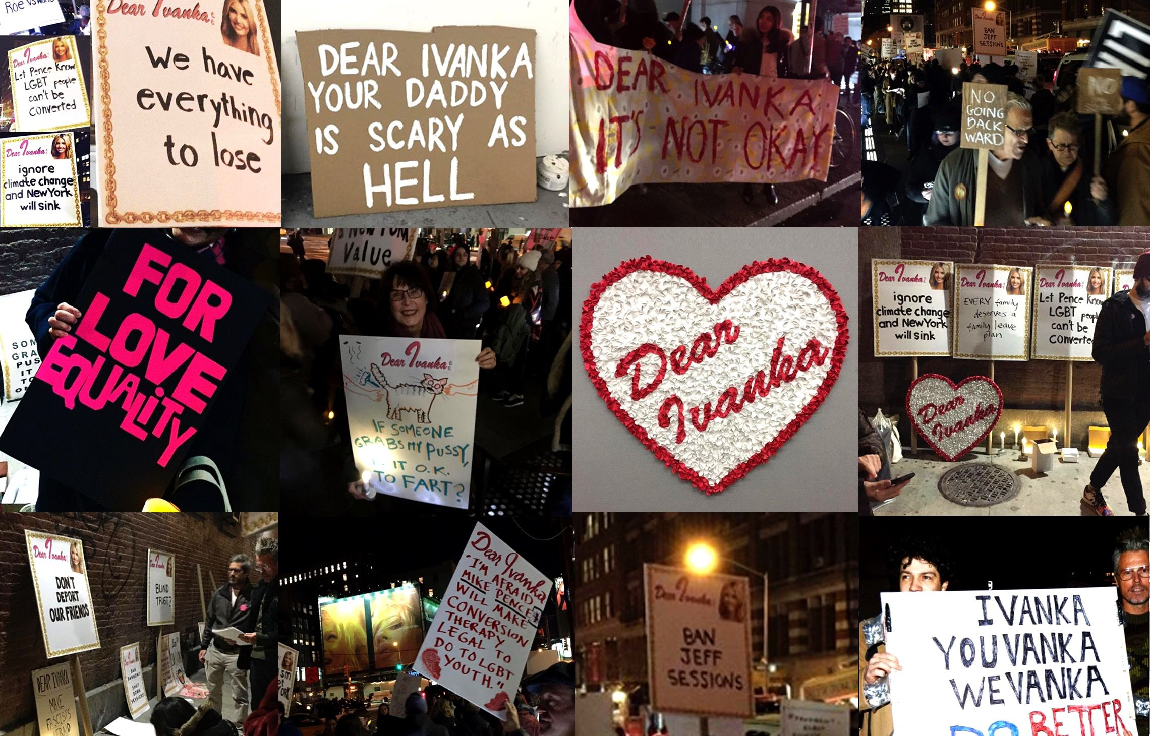 Artists in SoHo Target Ivanka Trump in Candlelight Vigil Against Her Father