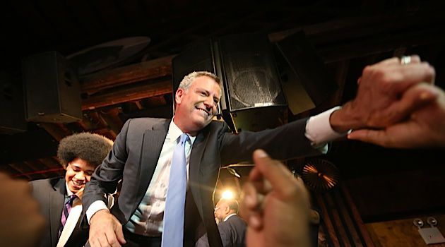 Backing the Anti-Bloomberg: A plurality of 38% of Jewish Democrats voted for Bill de Blasio, shown here in Brooklyn celebrating his victory in New York City?s Sept. 10 mayoral primary.