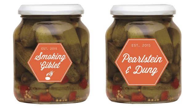 In a Pickle: Made to Ari's Romanian grandfather's recipe. The cucumbers are grown in the same manure heap (imported from a village that's now an exurb of Bucharest), but instead of salt water, Ari uses tears from babies being circumcised.
