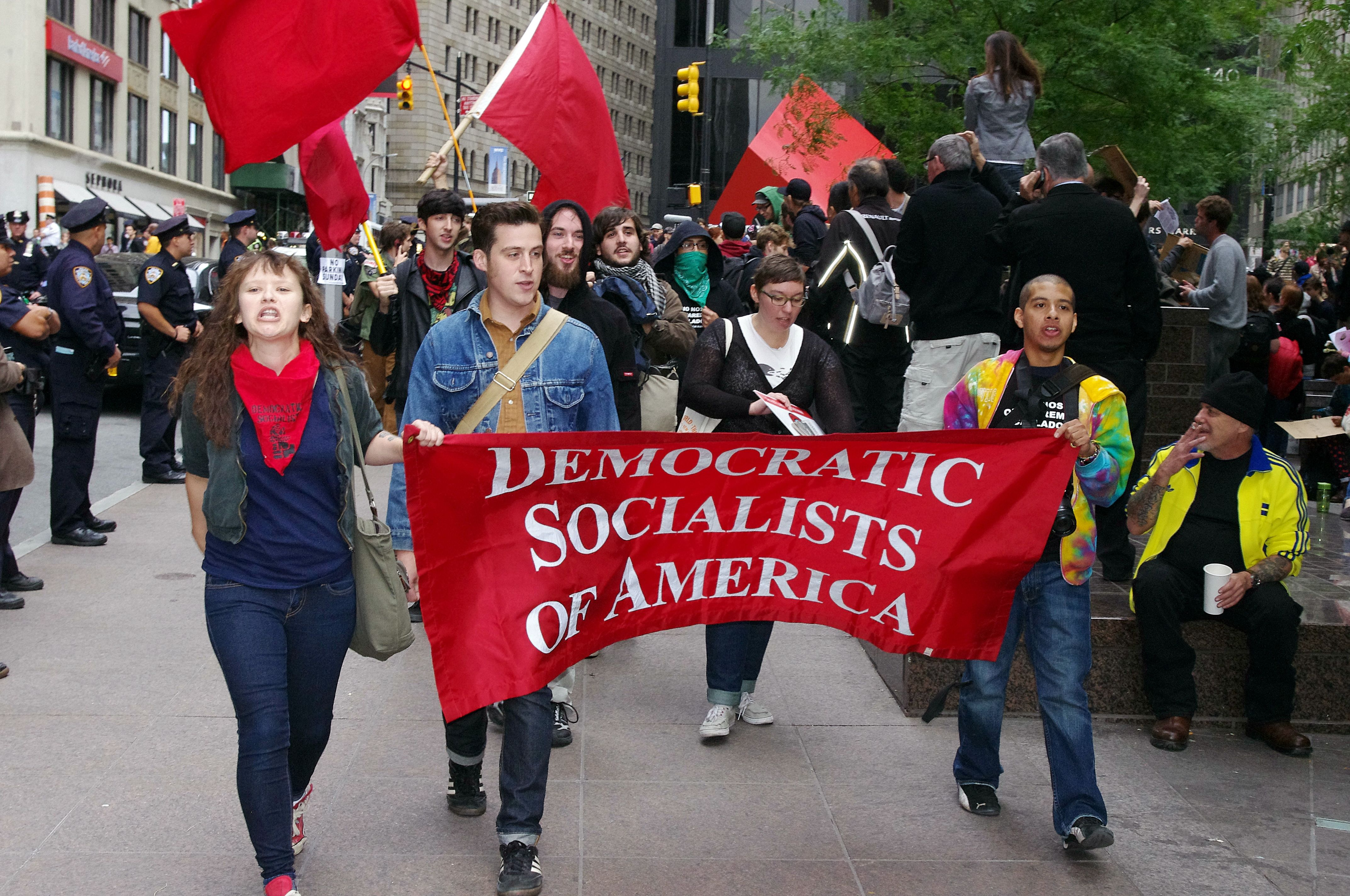 A delegation of the Democratic Socialists of America participate in the 2011 Occupy Wall Street protests.