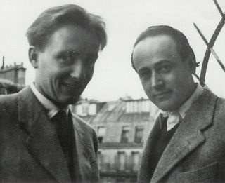 Friends: Demus, left, and Celan in Paris, 1953.
