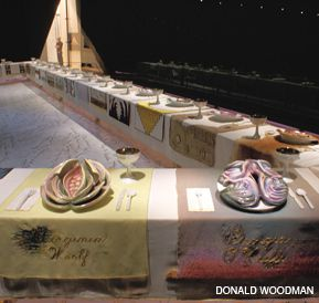 FROM MAKING ROOM AT THE TABLE TO IRONIZING THE TABLE: Judy Chicago?s ?The Dinner Party? (1974-1979, above) and Beth Grossman?s ?The Good Wife? (2004, below) exemplify some of the changed understandings of different generations of Jewish feminist art.