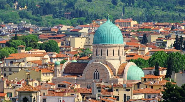 A Dome Away From Home:  Dedicated in 1882, Florence?s synagogue is a monument to 19th century Jewish emancipation and a grand example of Moorish style architecture, with a soaring arched façade and two slim side towers.
