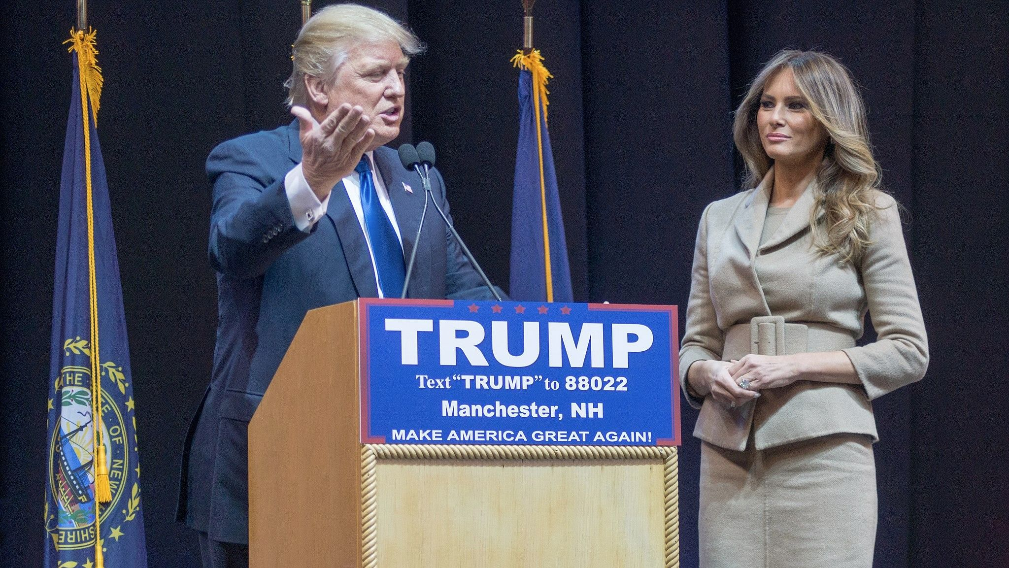 Donald and Melania Trump on the campaign trail.