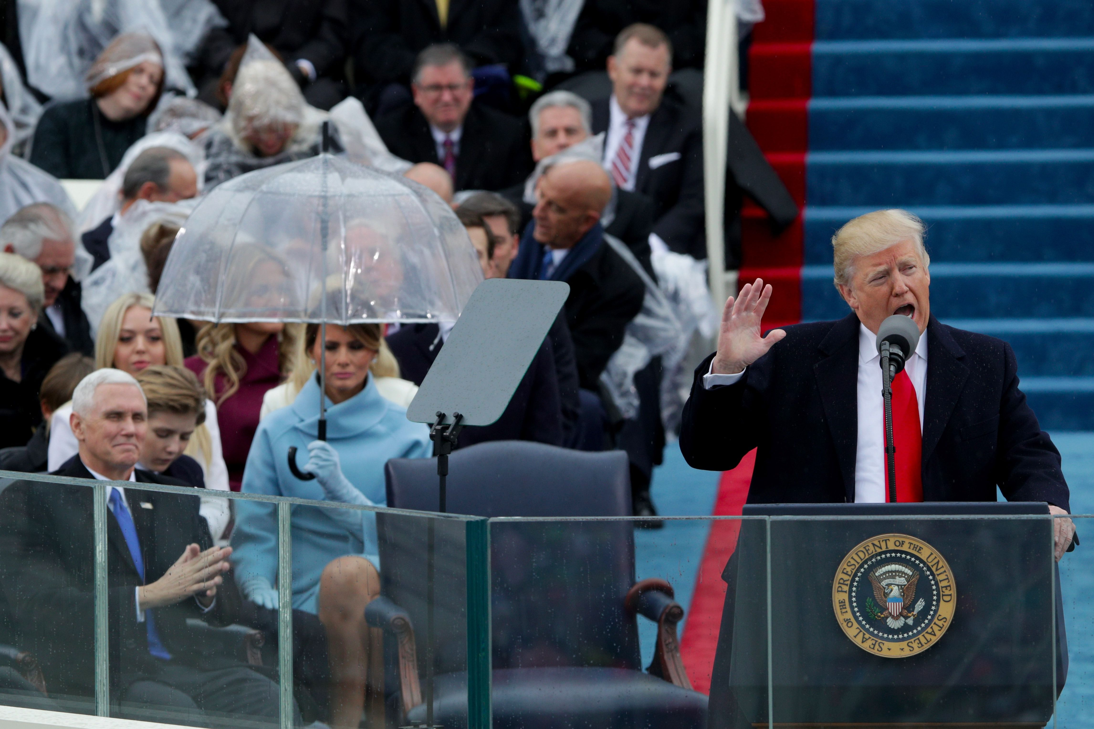 Donald Trump delivers his presidential inauguration speech, a sharp rejection of the notion that the United States places a special global leadership role.
