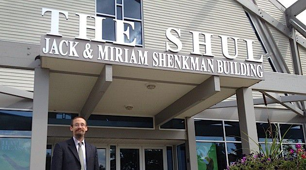 On Campus: Dov Stein, head of academics at Michigan Jewish Institute, stands outside the entrance to The Shul, a $6 million synagogue in West Bloomfield, where some MJI classes are held.
