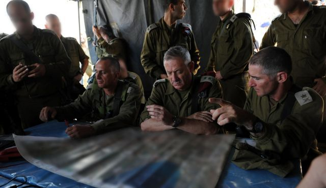 IDF Chief of Staff Benny Gantz during a surprise drill. In retaliation Gazans fired six rockets into Israel Sunday evening.