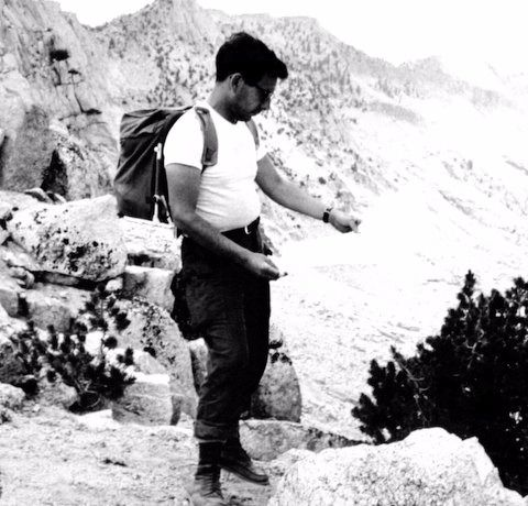 In the Sierra Nevadas: Sam Adams hikes with a backpack he borrowed from the director Sam Peckinpah.