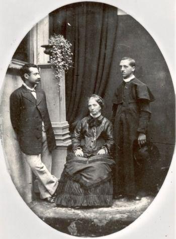 Father Pio Edgardo Mortara (right) with his mother Marianna, circa 1878–90