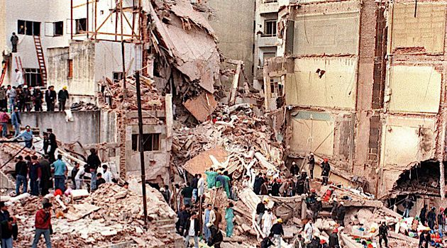 AMIA 1994: Rescue teams searching the site where a powerful explosion destroyed a seven storey building housing the Jewish Mutual Association of Argentina, in Buenos Aires.