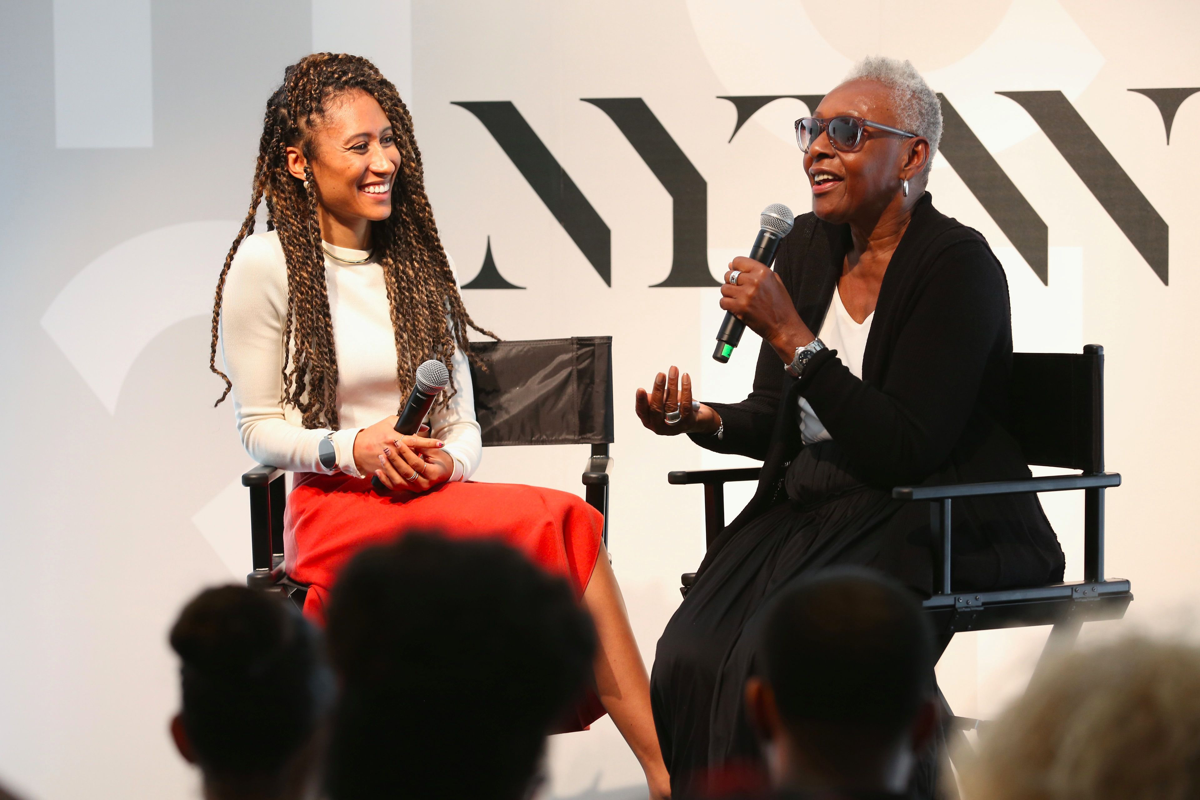 Teen Vogue Editor-in-Chief Elaine Welteroth, left, speaking with Bethann Hardison.