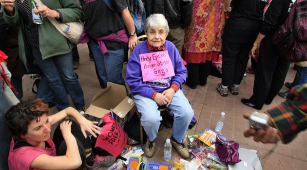 Surviving:  Holocaust survivor Hedy Epstein, 85, attends a protest with fellow activists in Cairo on December 28, 2009 against Egypt's refusal to allow a Gaza solidarity march to proceed.