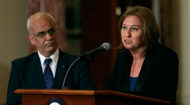 Diplomatic Conflict:  Palestinian negotiator Saeb Erekat accused Tzipi Livni of verbally expropriating Palestinian land.