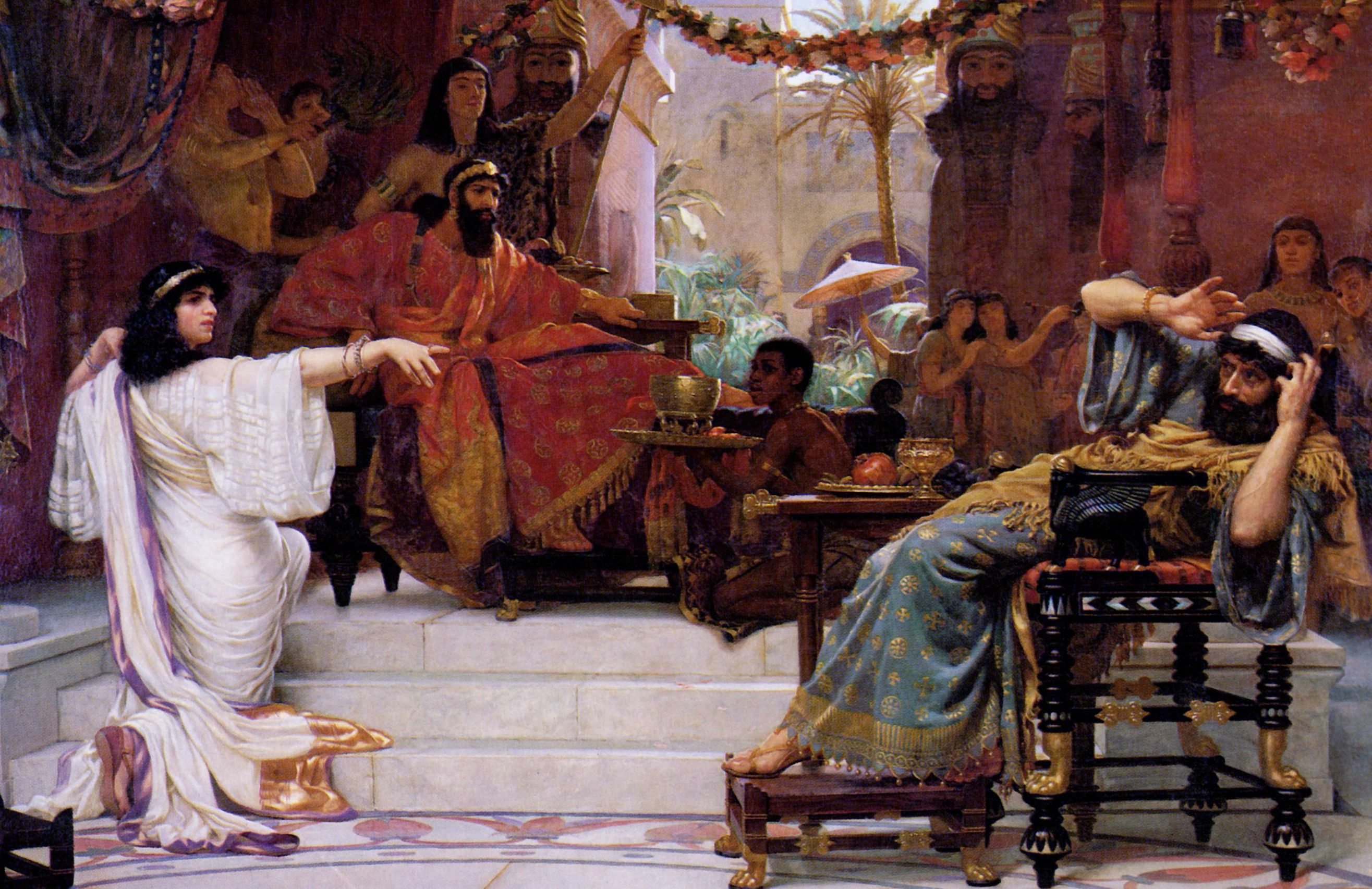 """""""Esther Denouncing Haman"""" by Ernest Normand."""