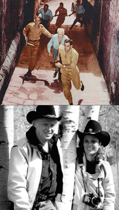 Born To Fight: Soldier Ari Ben Canaan (above, on left) and cowboy Leon Uris (pictured below with his wife Jill Peabody) were exemplary of a certain understanding of how Jewish identity needed to be fought for.