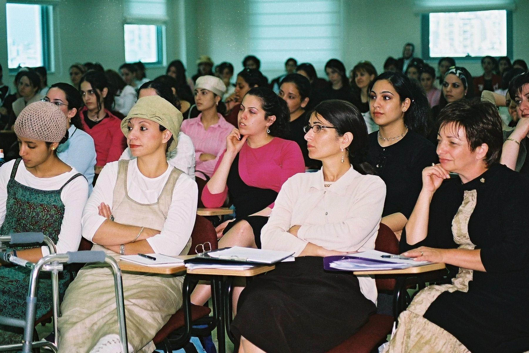 Haredi women at the Kiryat Ono College in Israel.