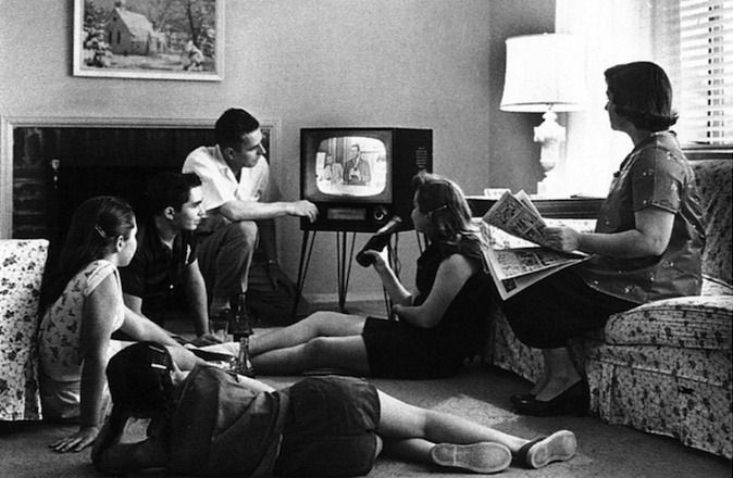 This 1958 scene of a family watching television, could not have been photographed in Israel, as the Jewish state had no TV until 1966.
