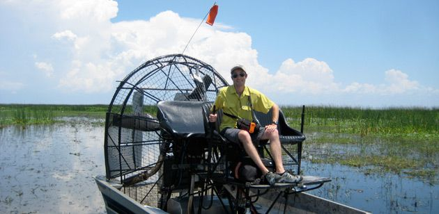 Going Green: Boaz Frankel took an airboat across Florida?s Lake Okeechobee.