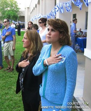 THE CHALLENGER: Annette Taddeo, right, a convert to Judaism, attended a Miami-area celebration of Israel?s 60th anniversary in May, during her campaign to unseat Rep. Ileana Ros-Lehtinen.