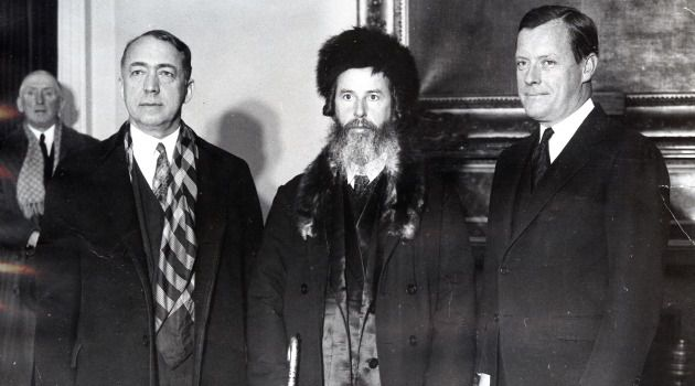 Honored Visitor: (Left to right) Judge Jacob S. Strahl, Rabbi Chaim Auerbach and New York Mayor Joseph McKee at a City Hall reception honoring Rabbi Auerbach, founder of Cabbala University in Jerusalem.