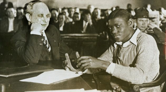 Injustice: Attorney Samuel Leibowitz with his defendant client ? Heywood Patterson, one of the nine Scottsboro Boys who were falsy accused of raping a white woman in Alabama in 1931.