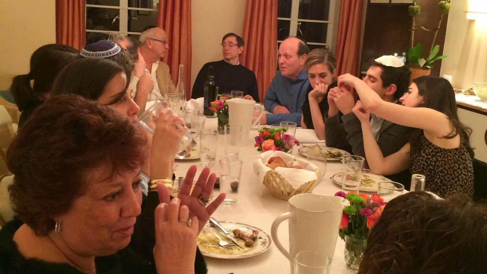 Guests at Rachel Ringler's Shabbat Table enjoyed food and conversation.