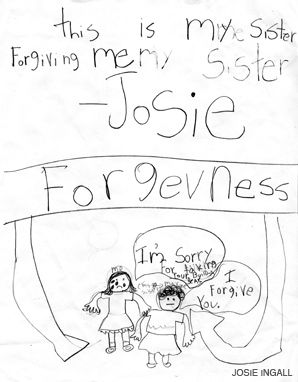 SO SORRY: Six-year-old Josie illustrates a High Holy Day theme.