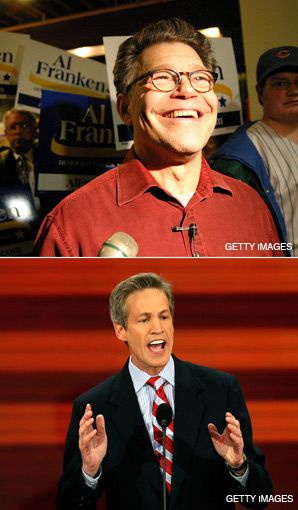 MEMBERS OF THE TRIBE: Democrat Al Franken (top) is challenging Republican incumbent Norm Coleman (bottom) for a seat held by Jews since the 1980s.