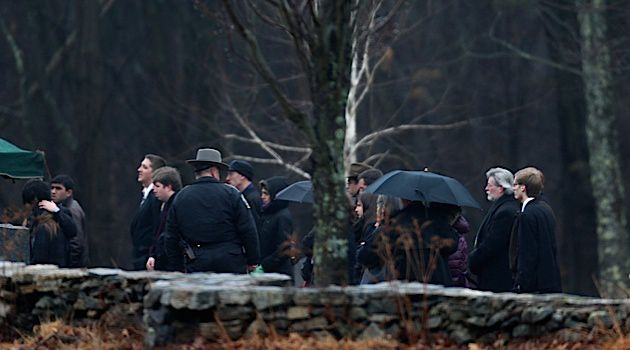 Solemn Day: Friends and family of Noah Pozner gathered on Monday to say goodbye.