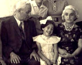 Gabriel and Fanny Herzig and granddaughter Nava Semel, Israel 1960.