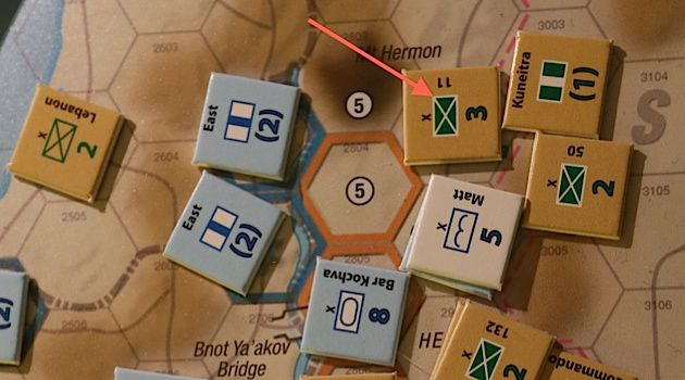 Six Day War Game: A photograph of the board game ?Six Day War: 1967? depicts the Israeli and Syrian forces in the Golan Heights.