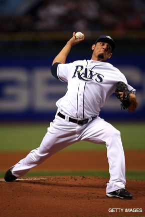 GOOD ARM: Pitcher Matt Garza in game 7 against the Red Sox.