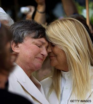 WEDDING BELLS: Robin Tyler and Diane Olson (right) were married by Rabbi Denise Eger in the first legally recognized same-sex marriage in Los Angeles County.